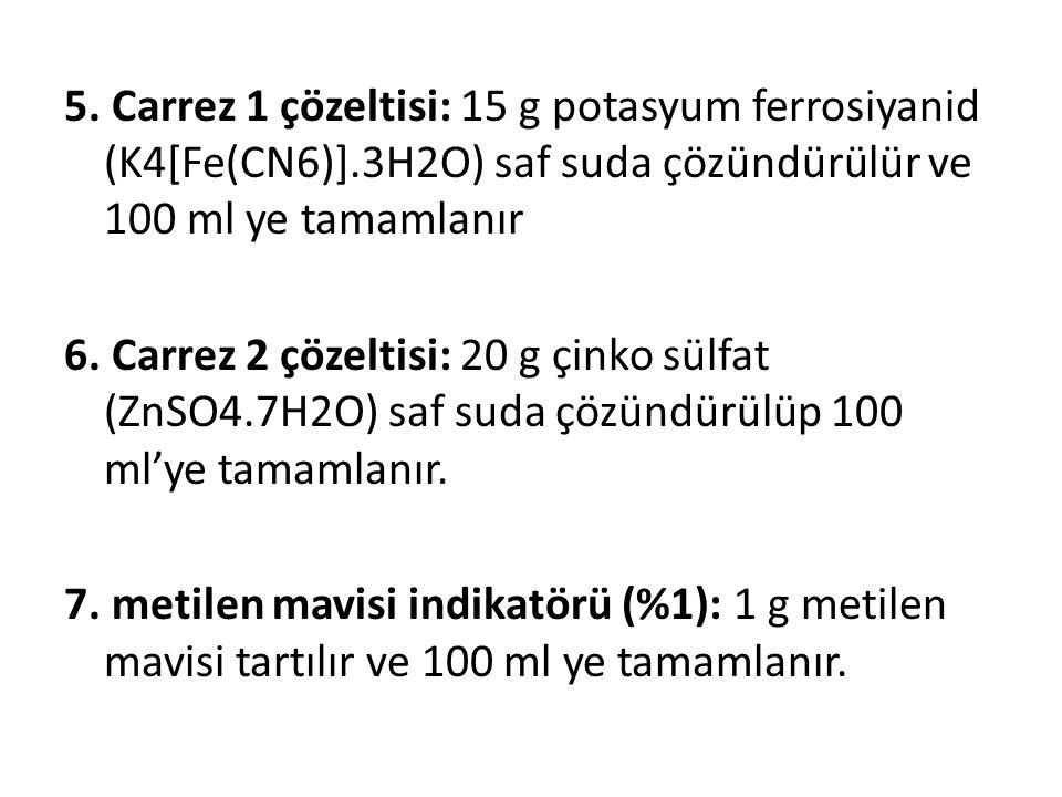 5. Carrez 1 çözeltisi: 15 g potasyum ferrosiyanid (K4[Fe(CN6)]